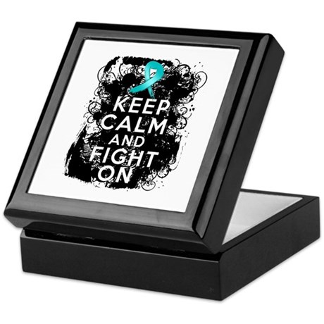 Ovarian Cancer Keep Calm and Fight On Keepsake Box