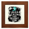 Ovarian Cancer Keep Calm and Fight On Framed Tile