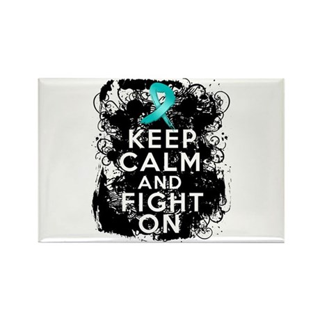Ovarian Cancer Keep Calm and Fight On Rectangle Ma