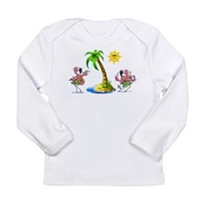 Flamingo's at the beach Long Sleeve Infant T-Shirt