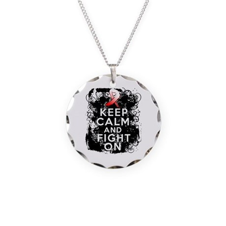 Oral Cancer Keep Calm and Fight On Necklace Circle