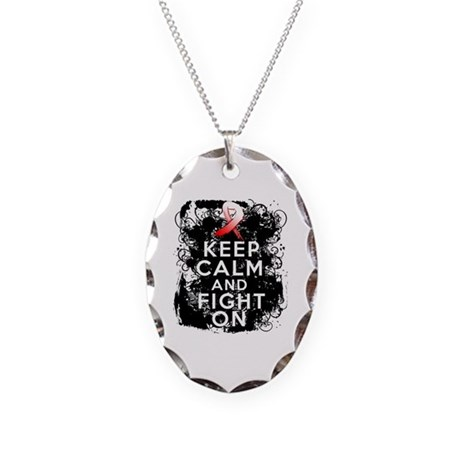 Oral Cancer Keep Calm and Fight On Necklace Oval C