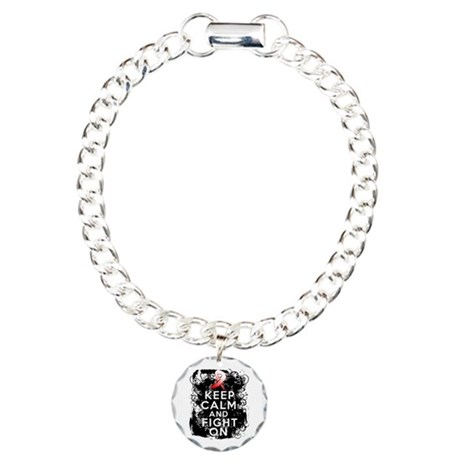 Oral Cancer Keep Calm and Fight On Charm Bracelet,