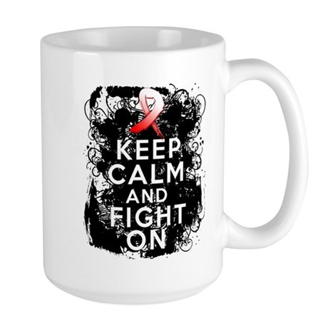 Oral Cancer Keep Calm and Fight On Large Mug