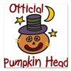 "Official Pumpkin Head Square Car Magnet 3"" x 3"""