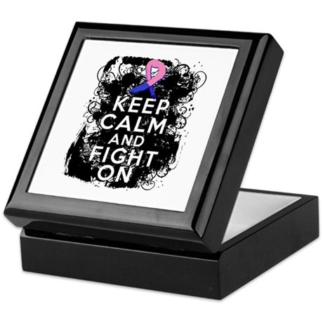Male Breast Cancer Keep Calm and Fight On Keepsake