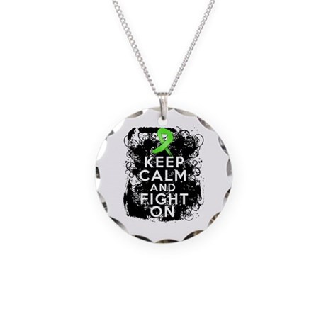 Lymphoma Keep Calm and Fight On Necklace Circle Ch