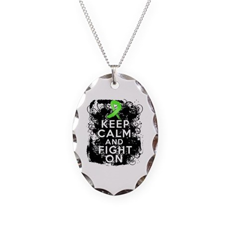 Lymphoma Keep Calm and Fight On Necklace Oval Char