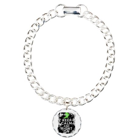 Lymphoma Keep Calm and Fight On Charm Bracelet, On