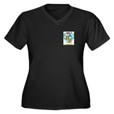 Alonzo Women's Plus Size V-Neck Dark T-Shirt