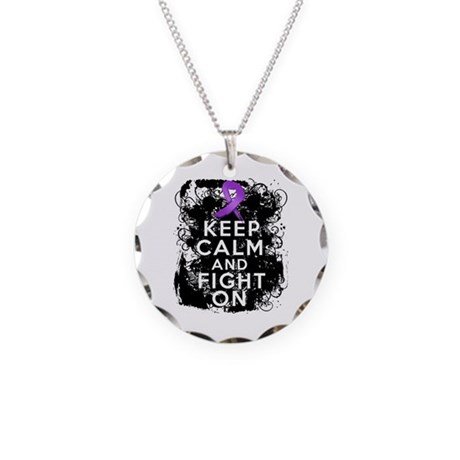 Lupus Keep Calm and Fight On Necklace Circle Charm