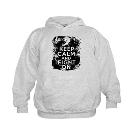 Lung Cancer Keep Calm and Fight On Kids Hoodie