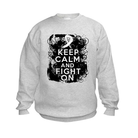 Lung Cancer Keep Calm and Fight On Kids Sweatshirt