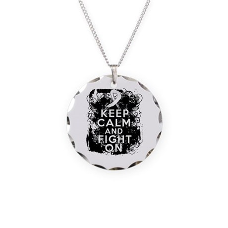 Lung Cancer Keep Calm and Fight On Necklace Circle