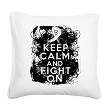 Lung Cancer Keep Calm and Fight On Square Canvas P
