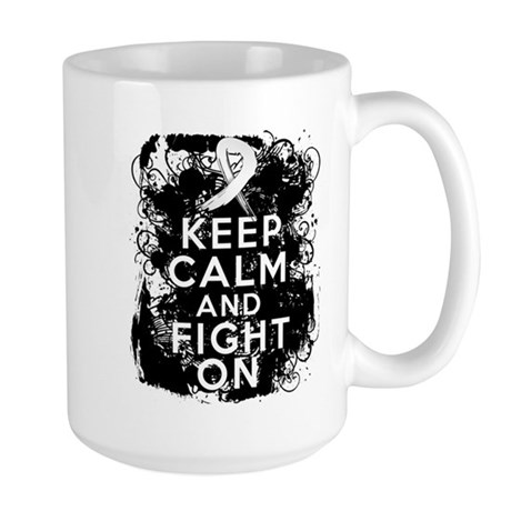 Lung Cancer Keep Calm and Fight On Large Mug