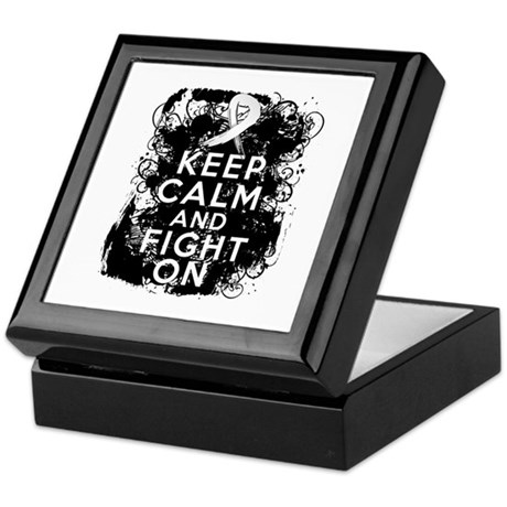 Lung Cancer Keep Calm and Fight On Keepsake Box