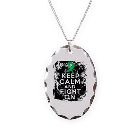 Liver Disease Keep Calm and Fight On Necklace Oval
