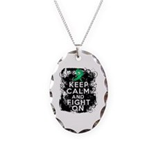 Liver Disease Keep Calm and Fight On Necklace