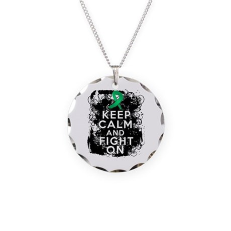 Liver Cancer Keep Calm and Fight On Necklace Circl