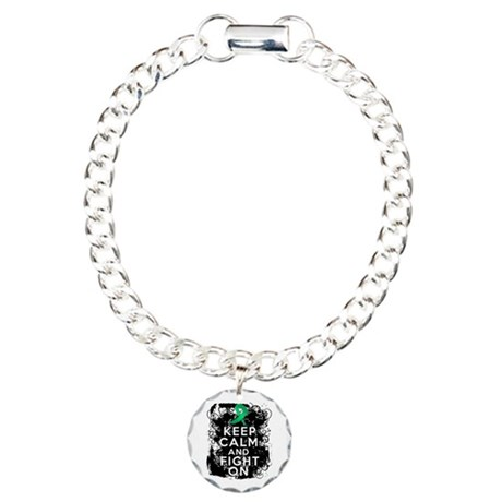 Liver Cancer Keep Calm and Fight On Charm Bracelet