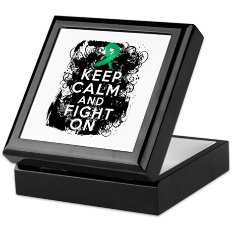 Liver Cancer Keep Calm and Fight On Keepsake Box