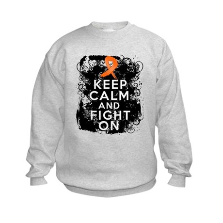 Leukemia Keep Calm and Fight On Kids Sweatshirt