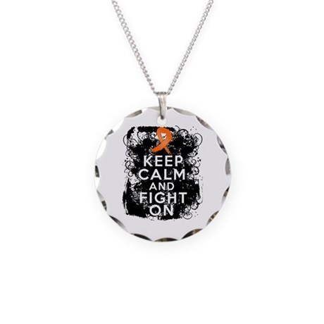 Leukemia Keep Calm and Fight On Necklace Circle Ch