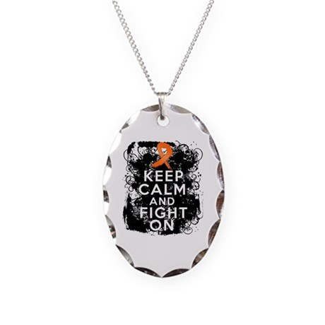 Leukemia Keep Calm and Fight On Necklace Oval Char