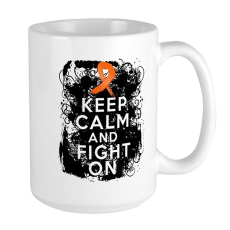 Leukemia Keep Calm and Fight On Large Mug