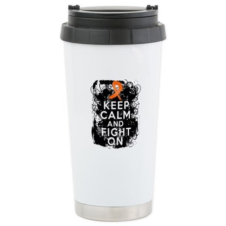 Leukemia Keep Calm and Fight On Ceramic Travel Mug