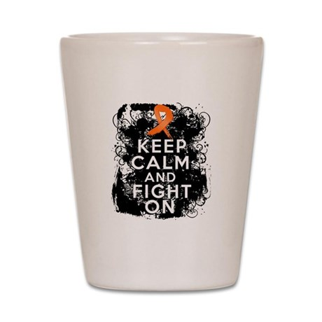 Leukemia Keep Calm and Fight On Shot Glass