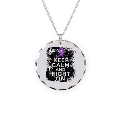 Leiomyosarcoma Keep Calm and Fight On Necklace Cir