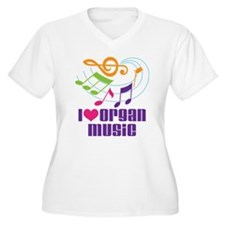 I Love Organ Music Women's Plus Size V-Neck T-Shir