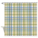 Blue Green Yellow Plaid Print Shower Curtain