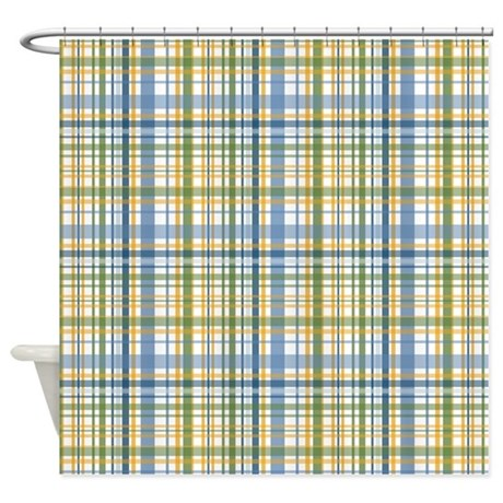 baby bathroom d cor blue green yellow plaid print shower curtain