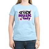 Crazy Music Lady Women's Pink T-Shirt