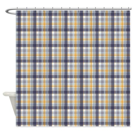 gifts baby bathroom d cor grey yellow plaid print shower curtain