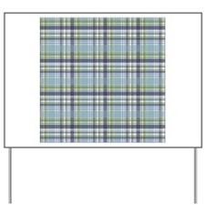 Blue Green Plaid Print Yard Sign