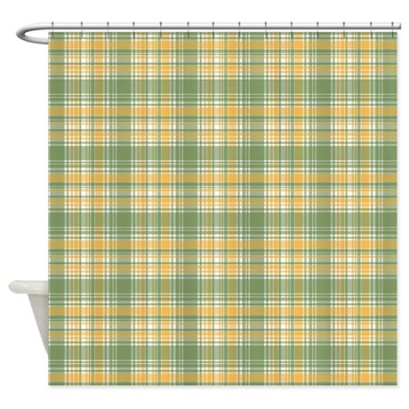gifts baby bathroom d cor yellow green plaid print shower curtain