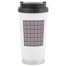 Red Purple Green Plaid Print Ceramic Travel Mug