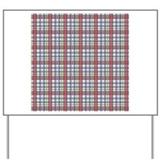 Red Purple Green Plaid Print Yard Sign