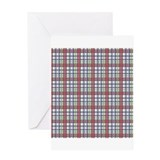 Red Purple Green Plaid Print Greeting Card
