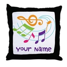 Personalized Music Swirl Throw Pillow