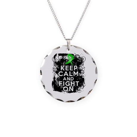 Kidney Disease Keep Calm Fight On Necklace Circle
