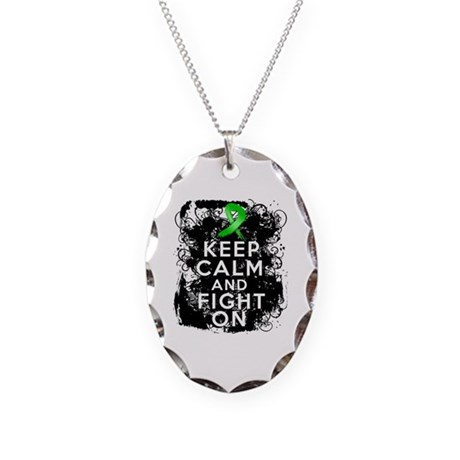 Kidney Cancer Keep Calm Fight On Necklace Oval Cha
