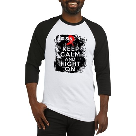 Heart Disease Keep Calm Fight On Baseball Jersey