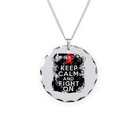 Heart Disease Keep Calm Fight On Necklace Circle C