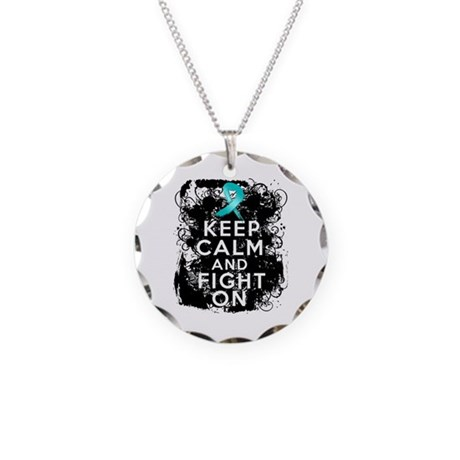 Gynecologic Cancer Keep Calm Fight On Necklace Cir