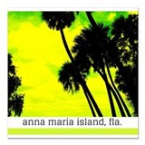 "Palms against yellow sky Square Car Magnet 3"" x 3"""